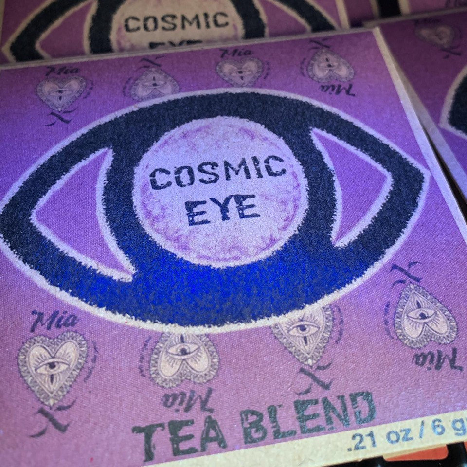 Close up of the Cosmic Eye Reiki Infused Tea by Mia X Marks the Spot package