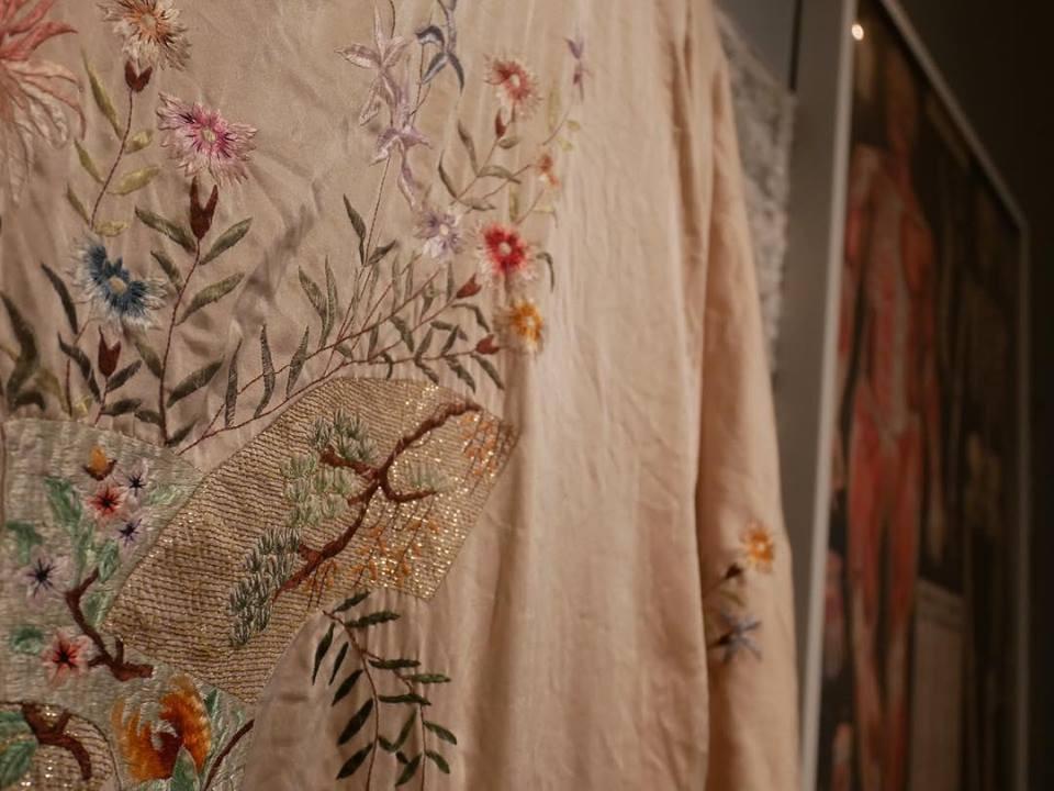 Vintage silk robe and human anatomy diagram