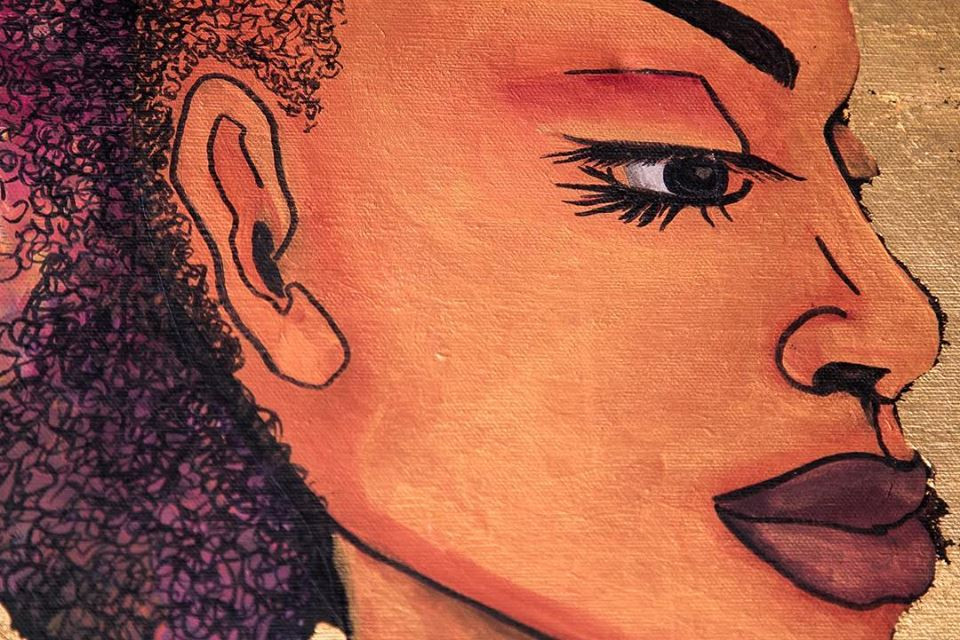 Close up of artist Rachael Graces painting of a female with a purple mohawk.