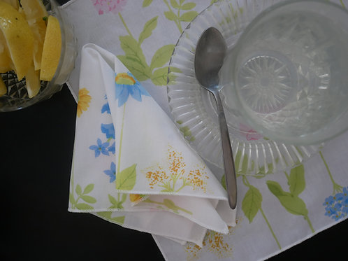Floral Fabric Square Handkerchief / Napkin / Mini Bandana