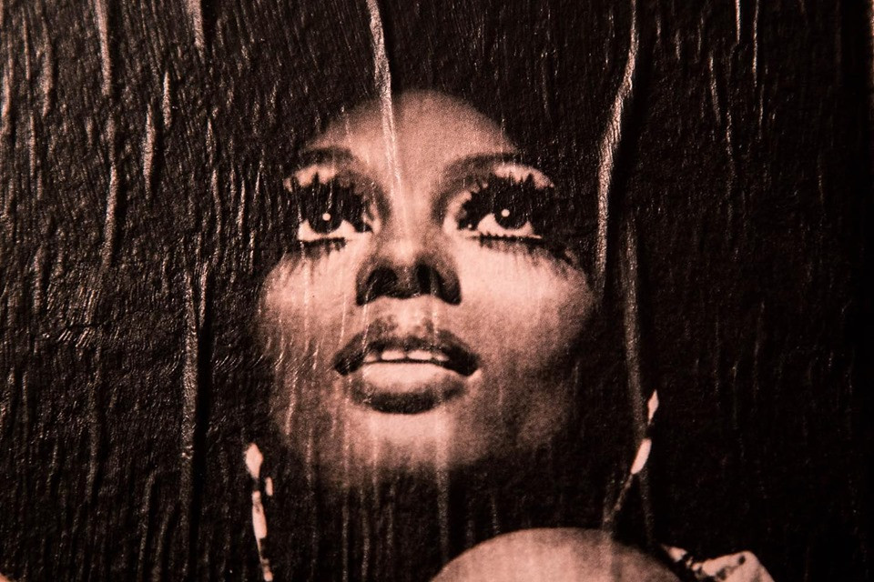 Close up of an image of Diana Ross that up on the Collage