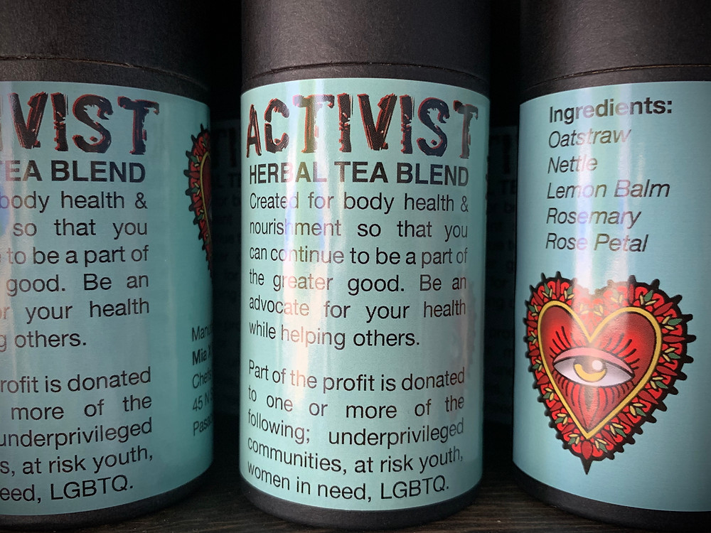 Close up of the label of Mia X Marks the Spots Activist Tea