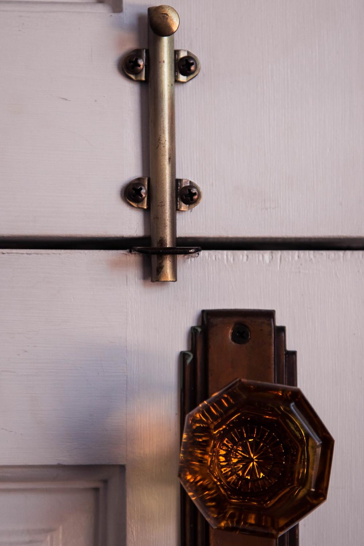 Detail of the hardware on the studio doors