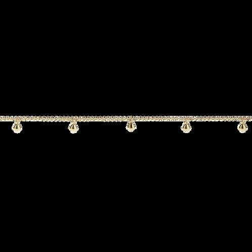 Meadowlark Stg silver yellow gold plated bell ankle bracelet 25cm - chbbelgp