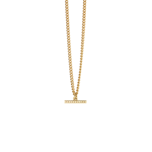 Meadowlark Stg silver yellow gold plated Petite Fob Chain Necklace - necpfcgp