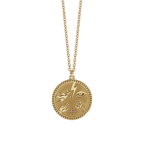 Meadowlark Talisman Necklace - Gold Plated with a Pink Sapphire Stone
