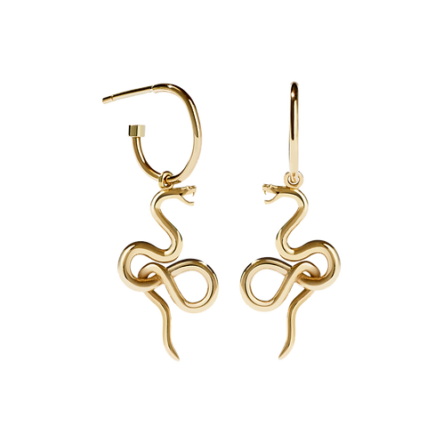 Medusa Stg silver yellow gold plated endless hoop earrings dromeh2pg