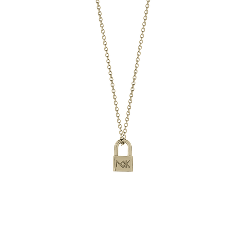 Lock Charm Necklace 50cm Adjustable Stg Silver yellow gold plated - chnlokgp