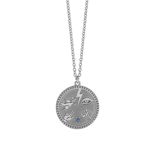 Meadowlark Stg Silver Talisman Necklace with Blue Sapphire - nectalssbls