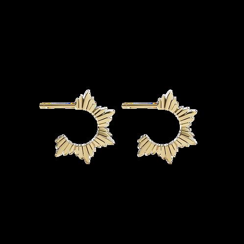 Meadowlark Maiden Hoop Earrings Medium Stg Silver Yellow Gold Plated - dromhmgp