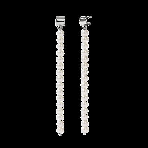Meadowlark Stg silver Freshwater pearl Cuff Strand Earrings $805 drocsess
