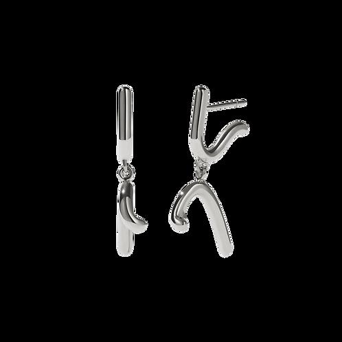 Meadowlark Stg silver Sculpture Drop Earrings - droscdss