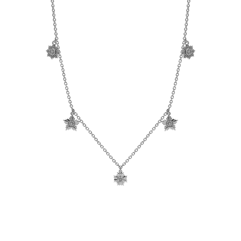 Meadowlark Stg silver Maiden five charm necklace - chnmaiss