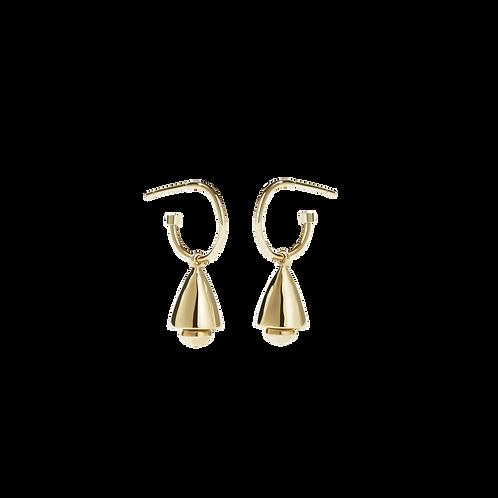 Meadowlark Stg silver gold plated bell endless hoop earrings - drobelgp