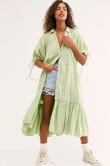 Green Seam Shirtdress