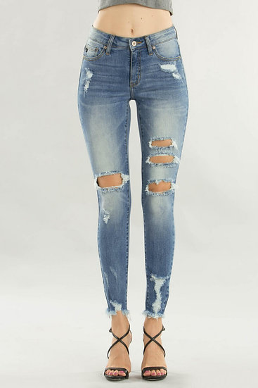Light-washed ripped jean