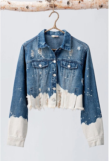 Cropped Distressed Denium Jacket