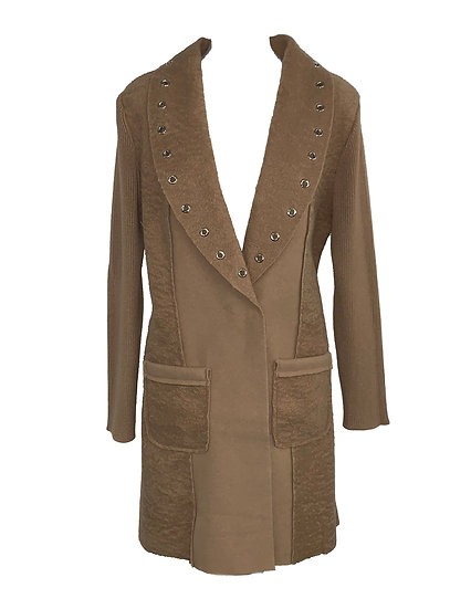 Camel Cardigan with Grommets