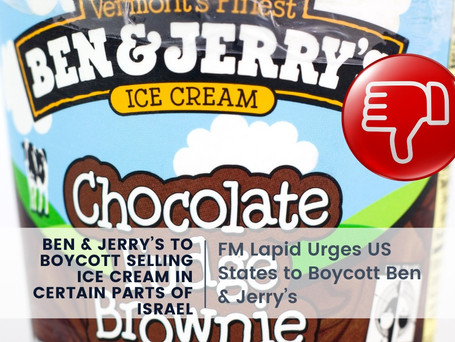 Ben & Jerry's to Boycott Selling Ice Cream in Certain Parts of Israel