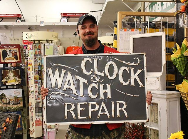 Todd showing off the new sign for the service desk 🕟⌚_._._._._._._._._