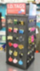 Sebastopol Hardware customized pet tags in different shapes and colors.