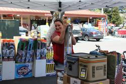 Angela setting up a kite