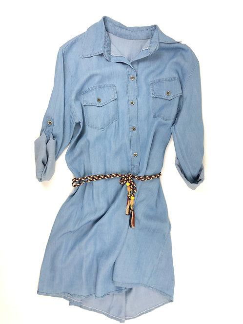 Damen Jeanskleid mit Kordel hell