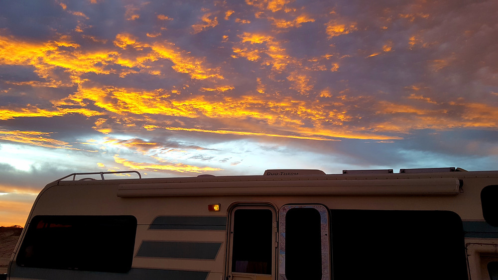RV life camping for free on the beach