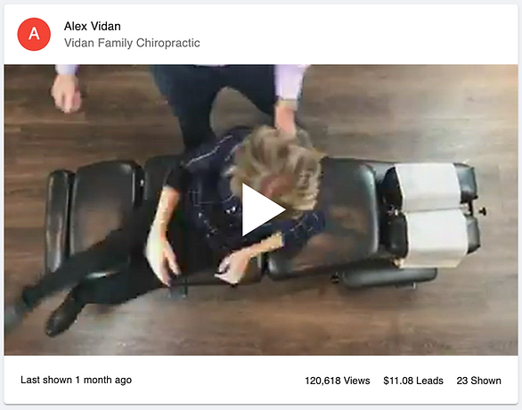 Video of Dr. Alex Vidan giving his wife a chiropractic adjustment filmed from the top angle