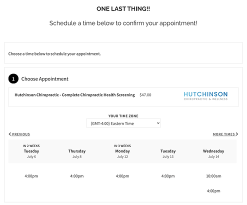 Online scheduling page for allowing leads to book appointments immediately
