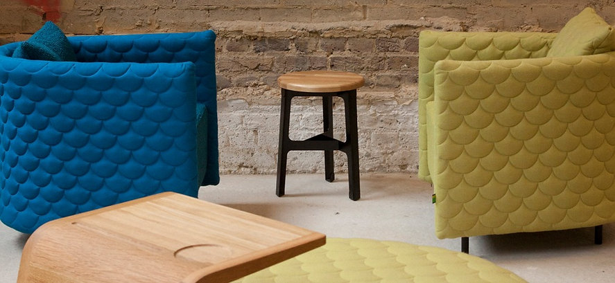 Bute Fabrics_Melrose in Monsoon and Quince on Naughtone Cloud Seating Range