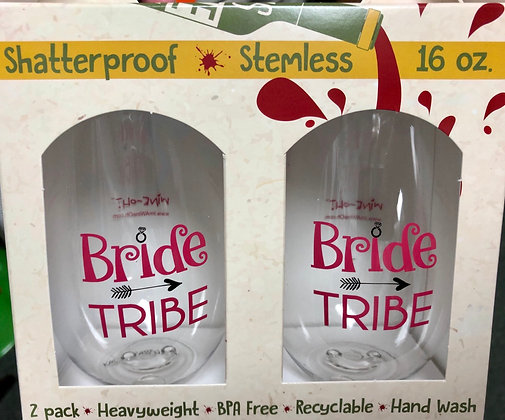 Stemless Shatterproof Wine Glasses - Bride Tribe