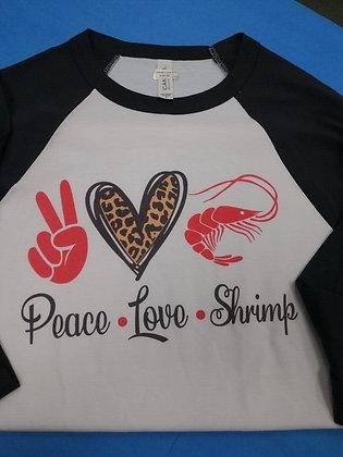 Peace, Love, Shrimp T-shirt