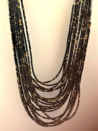 Multi Layers Black Beaded Necklace