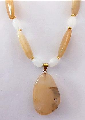 Yellow Agate Beaded Necklace