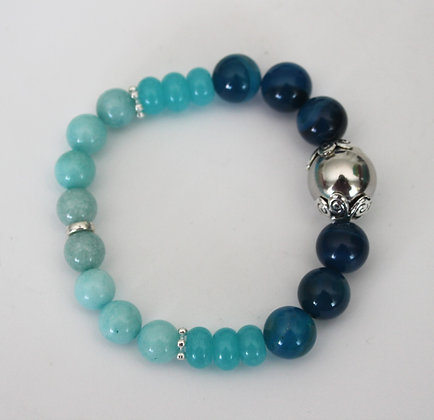 Shades of Teal Beaded Stretch Bracelet