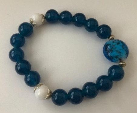 Teal Glass Stretch Bracelet