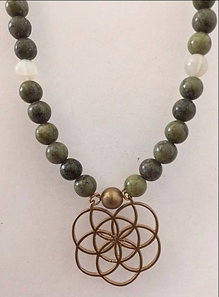 Green Jade Glass Beaded Necklace
