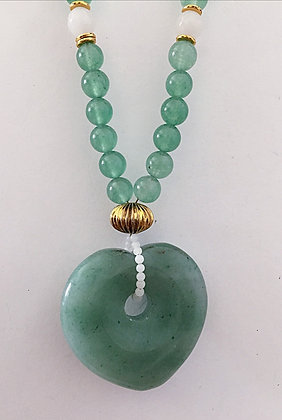 Green Necklace with Heart Pendant