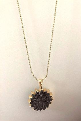 Gray Sunburst Druzy Pendant Chain Necklace