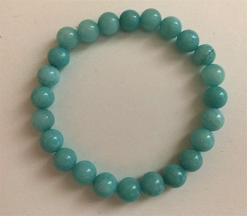 Aquamarine Stretch Healing Mediation Stone Bracelet