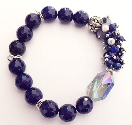 Dark Blue Beaded Stretch Bracelet
