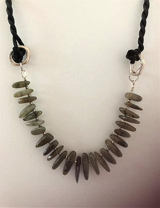 Labradorite Long Beads Statement Necklace
