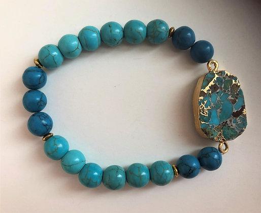 Blue Beaded Stretch Pendant Bracelet