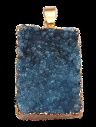 Blue Square Druzy Pendant