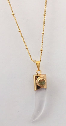 Chain Necklace with Crystal Horn Pendant