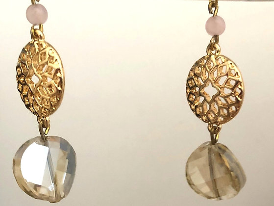 Crystal Blass Round Accent Drop Earrings