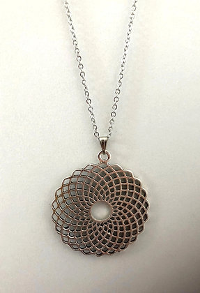 Stainless Steel Silver Focal Round Spiral Pendant