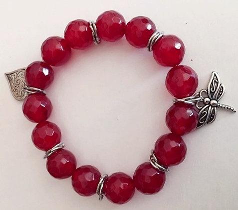 Red Beaded Faceted Bracelet