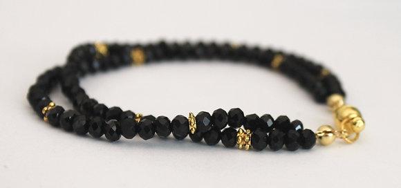 2 Layered Black Beaded Bracelet